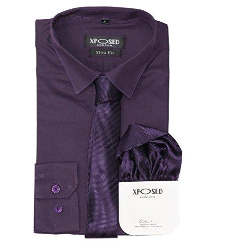 Xposed Conjunto de regalo para hombre, de algodón clásico, entallado, camisa, corbata, conjunto de regalo, casual, formal, trabajo, 22 colores, color Morado, talla 4X-Large