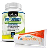 Alleviate Hem-Control Hemorrhoid Treatment Bundle - Specially Priced Complete Natural Hemorrhoid Relief Solution with Cream and Oral Supplement