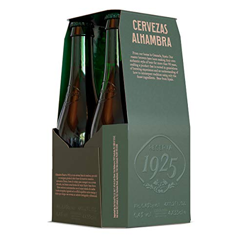 Alhambra - Reserva 1925 Cerveza Dorada Lager, 5.4% Volumen de Alcohol - Pack de 4 x 33 cl