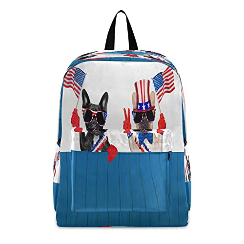French Bulldog Flags Backpack Independence Day 4Th Of July Backpacks Student Schoolbag Bookbag Laptop Bag Daypack Large Travel School Sports Bags for Kids Teens Boys Girls Men Women