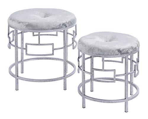 ts-ideen 2er Set Polsterhocker Grau Metall Schemel Gepolsterte Sitzfläche Rund