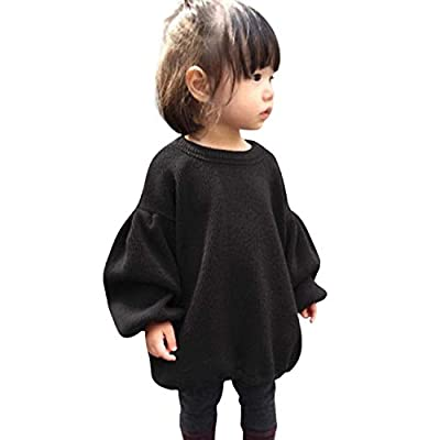 GRNSHTS Baby Girls Loose Long Lantern Sleeve Knit Sweater (Black, 2-3 Years)