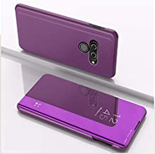 For LG K50 Plating Mirror Left and Right Flip Cover with Bracket Holster New (Silver) XIEcute (Color : Purple)