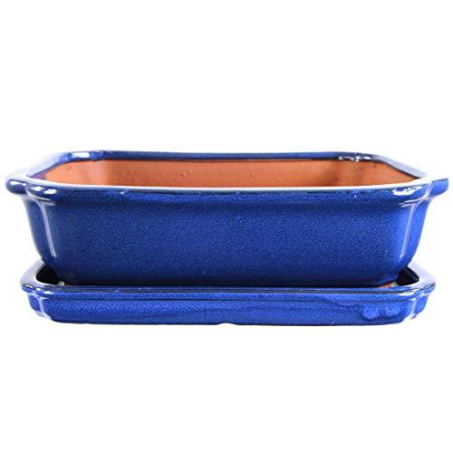 Bonsaischale mit Untersetzer 27x21x7.5cm Blau Rechteckig Glasiert
