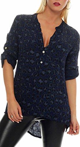 Malito Damen Bluse mit Leo Muster | Tunika mit ¾ Armen | Longsleeve mit Animal Print | Elegant - Oversize - Shirt 6702 (dunkelblau)
