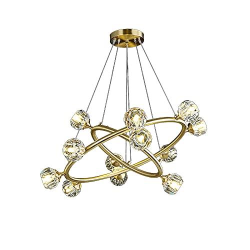 G9 Cristal Esférica Candelabro,Dorado Anillo Colgante De Luz,Creatividad Ajustable Altura Lámpara De Techo,Para Isla De Cocina Comedor-Cobre y cristal 71x30cm