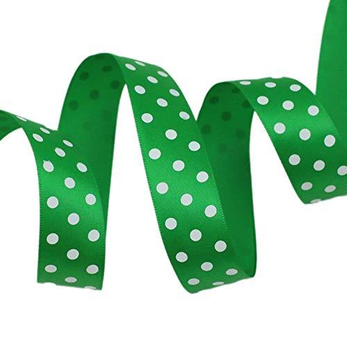 Mingi 1 Pouce = 2.5cm 25mm Rubans de Satin Imprimés Polka Dot 2Meters / Lot Bandeau Barrettes Barrettes Cravates Noeud Papillon en Tissu Ruban d'emballage, Vert