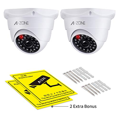 Find Bargain Fake Security Camera, with Realistic Look Dummy Camera One Lighting Red LED at Night, f...