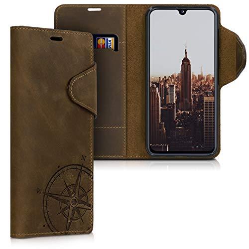 kalibri Wallet Hülle kompatibel mit Samsung Galaxy A40 - Hülle Leder - Handy Cover Handyhülle Kompass Vintage Braun