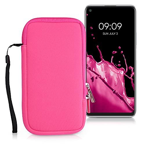 kwmobile Custodia in Neoprene con Zip per Smartphone XL - 6,7/6,8' - Astuccio Portacellulare a Sacchetto con Cerniera - Borsa in Rosa Shocking
