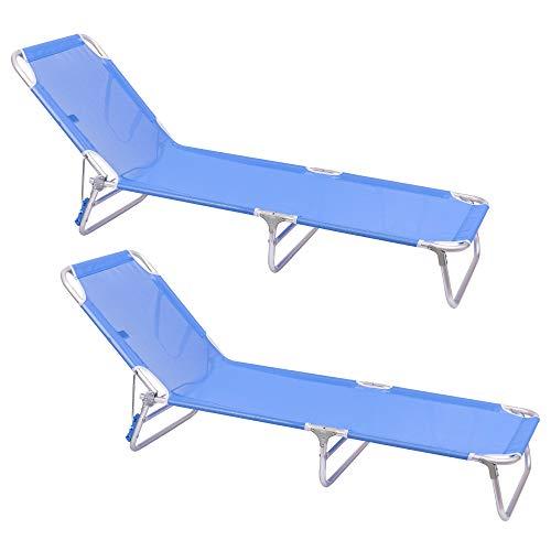 Pack de 2 tumbonas Playa Cama de 3 Posiciones de Aluminio y textileno de 190x58x25 cm (Azul)
