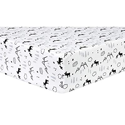 Trend Lab Deluxe Flannel Fitted Crib Sheet, Lumberjack Moose
