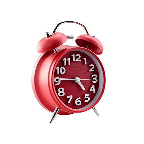 yywl Reloj Despertador 1pcs silencioso Despertador Doble de Bell Temporizador Metal del Metal del Regalo del Reloj de Alarma clásico Despertador Escritorio Persona Perezosa (Color : Red)