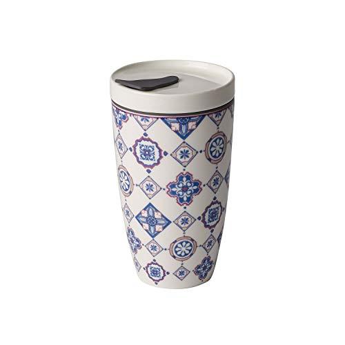 Villeroy & Boch To Go Indigo Becher 350 ml randvoll gemessen, Premium Porzellan/Silikon, blau/weiß, 15 cm