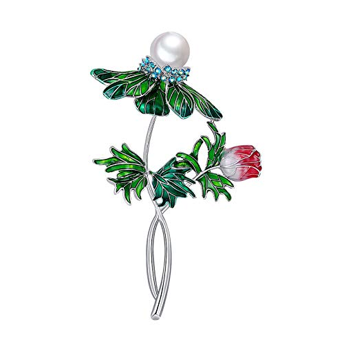 happysdh The New Fashionable Fresh Flower Brooch Reveals Your Individual Character for Women Fresh Water Pearl Elegant Brooch Pin Vintage Coat Broch (F)
