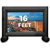 TKLoop 16 Feet Inflatable Movie Screen Stable T-Foot Double Sides Projection No Seam Blow Up Projector Screen - Includes Inflation Fan, Tie-Downs and Storage Bag