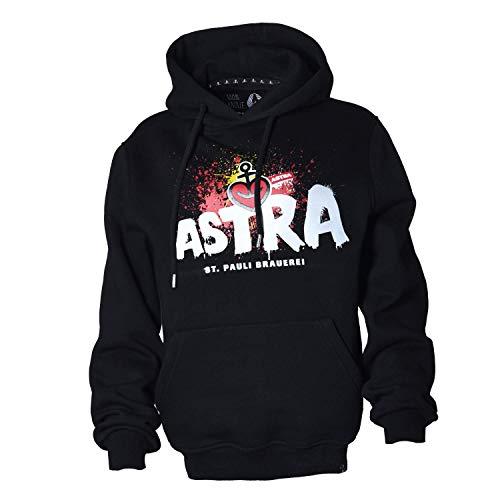 ASTRA St. Pauli-Brauerei Hoodie Unisex, bequemer Pullover mit Kapuze, Cooler Kapuzen-Pulli mit Aufdruck, für Damen & Herren, schwarzer Sweater aus St.Pauli (XL)