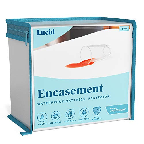 LUCID Encasement Mattress Protector - Completely Surrounds Mattress for Waterproof, Allergen Proof, Bed Bug Proof Protection -15 Year Warranty - Twin size