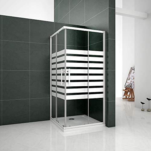 Mampara de ducha Angular 5mm Serigrafiado - 2 Fijas + 2 Correderas,Puertas Correderas 90x90x195cm