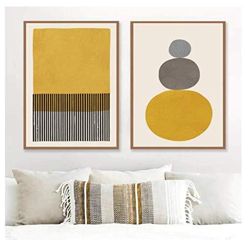 Impresión en Lienzo 2x30x40cm sin Marco Líneas Rayas Pintura Cartel Minimalista Colores Mostaza Gris y Negro Cuadros de Pared Sala de Estar Decoración de Arte de Pared