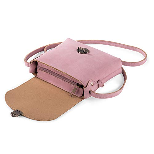 Kleine crossbodytas voor dames met anti-diefstalvergrendeling PU-leer Vintage dames handtassen Crossbody-telefoontas Reistas kleine zijtas (Roze)