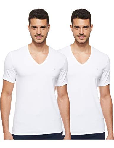 Calvin Klein S/s V Neck 2pk Haut De Pyjama, Blanc (White 100), Large Homme
