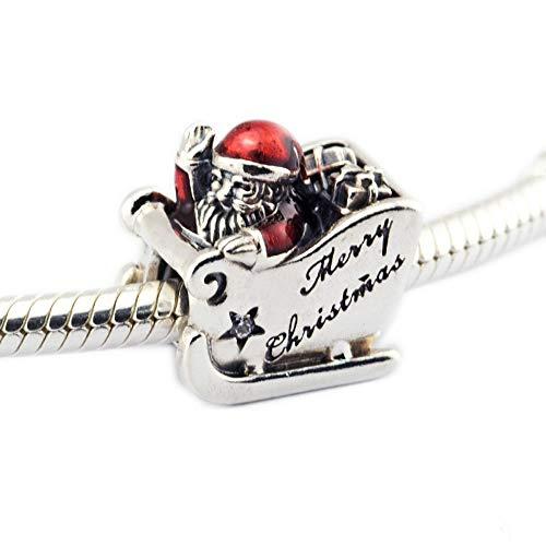 MOCCI Weihnachten Gfit Sleighing Santa authentische 925 Sterling Silber DIY passt für Original Pandora Armbänder Schmuck machen