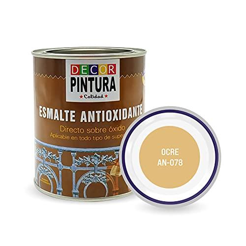Pintura Ocre Antioxidante Exterior para Metal minio Pinturas Esmalte Antioxido para galvanizado, hierro, forja, barandilla, chapa para interiores y exteriores - Lata 750ml