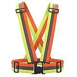 AYKRM Warnweste Fahrrad Reflektorweste Joggen Sicherheitsweste Einstellbar Leicht für Laufen, Motorrad, Running Reflektierende für Erwachsene, Kinder (Gelb&Orang)