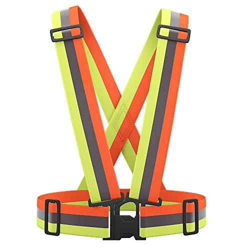 AYKRM Gilet Alta Visibilita, Bretelle Giubbotto Catarifrangenti Giacca Riflettente di con Striscia Riflettente Pettorina Catarifrangente per Corsa Running Ciclismo (Arancione&Giallo, S-XXL)