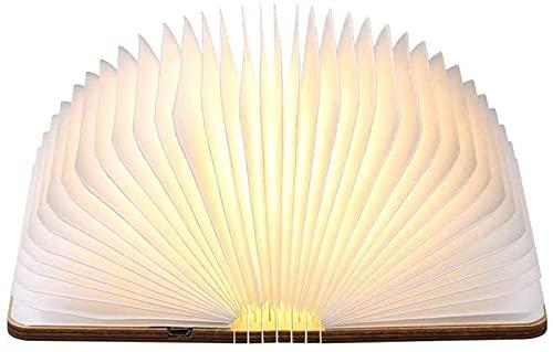 FZMT Libro Luz de Noche Lámparas de Mesa Recargables USB Lámparas de Escritorio de Madera Led para Bedisdes Sala de Estar Dormitorio Niños Niños Color café