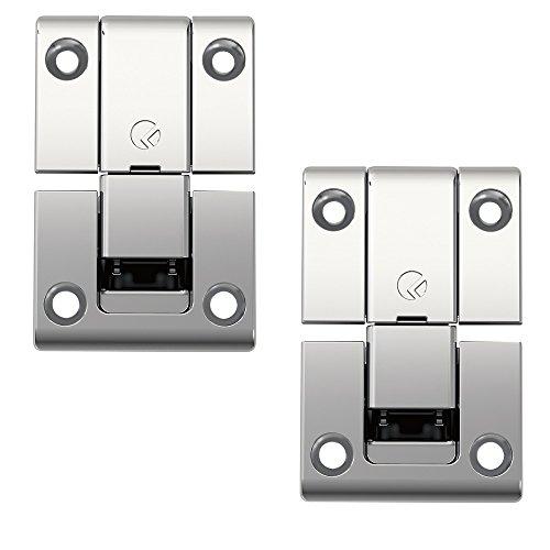 Gedotec Klappenbeschlag Schrank-Tür Klappenscharnier 3D verstellbar - KIMANA | Möbelscharnier 3-teilig | Stahl vernickelt | Türscharnier für Möbel & Klappen | 2 Stück - Schrank-Scharnier zum Einlassen