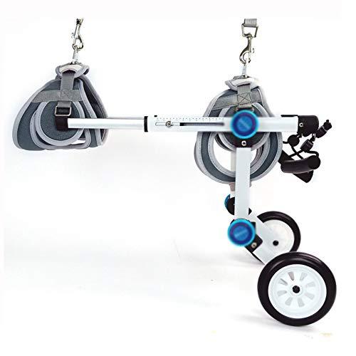 Silla de ruedas de perro plegable, aleación de aluminio Ajustable Protege las extremidades del pecho Cadera del vientre cadera Pierna asistida de paseos Ayuda Piernas traseras Rehabilitación(0-60kg),M