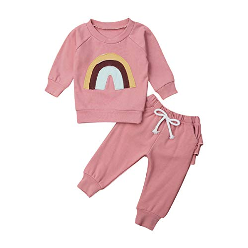 Wide.ling 2 STKS Kids Baby Meisje Warm Sweatshirt Tops Truien + Broek Sweatpants Kleding Set Regenboog Tops Ruche Broek Outfits