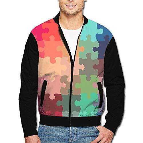 1Zlr2a0IG Men's Print Zip Front Jacket Puzzle Pattern Stand Collar Baseball Bomber Jacket Sleeve Coat