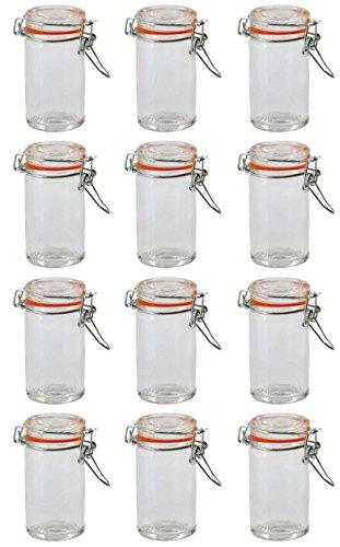 Einmachglas Vorratsglas mit orangenem Silikonring und Bügelverschluss 70 ml 250 ml 500 ml 1000 ml, Größe/Stückzahl:70 ml / 12 Stück