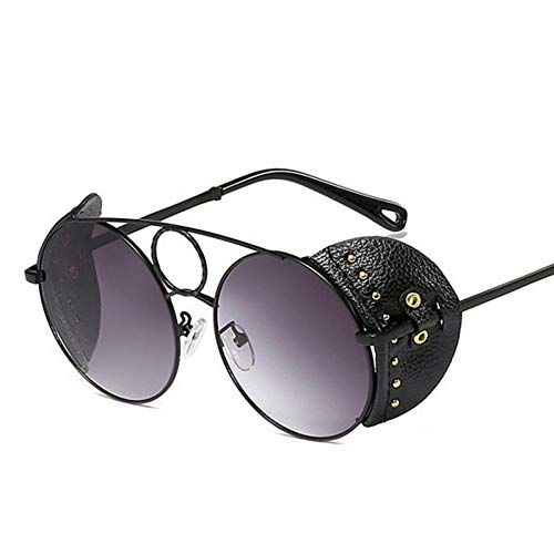 YIERJIU Gafas de Sol Star Style Luxury Round Sunglasse Women Rivet Windshield Gafas de Sol Ladies Brand Leather Design Gafas de Sol Hombres Oculos De Sol,f