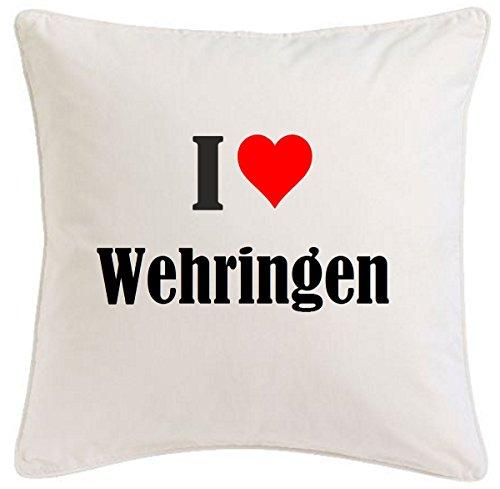 Kissenbezug I Love Wehringen 40cmx40cm aus Mikrofaser geschmackvolle Dekoration für jedes Wohnzimmer oder Schlafzimmer in Weiß mit Reißverschluss