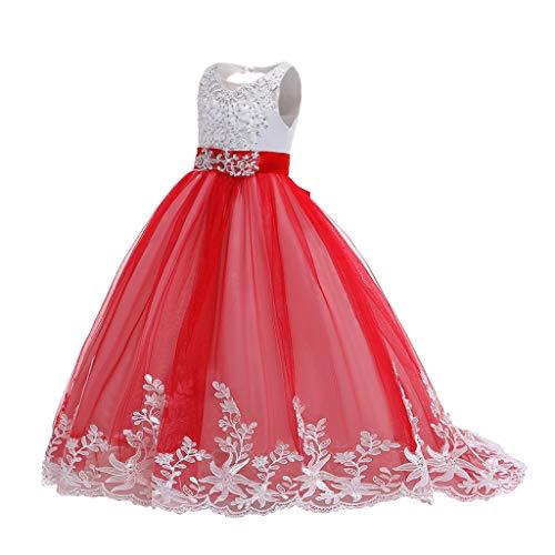 Vestido De Fiesta para NiñA De 3-14 AñOs Mezcla De AlgodóN Vestido De Malla De Flores Sin Mangas De Encaje Vestido De Novia Casual Vestido De Princesa Juego De Roles Rendimiento(D-Rojo,14-16 años)