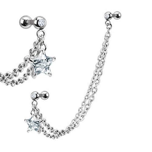 Helix piercing ketting met oorbel met glimmende steen in vorm van ster