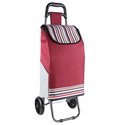 QXTT Grocery Trolley Cart Stair Climbing Lightweight Foldable Travel Grocery Shopping Trolley Cart PU Wheel Oxford Fabric Mobility Bag Cart Market 35L Capacity Heavy Duty Max30KG