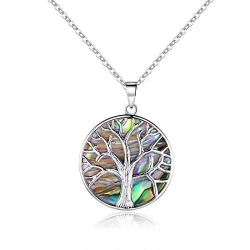 Barzel 18K White Gold Plated Created Abalone Pearl Tree Of Life Necklace (1)