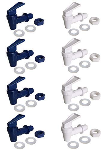 Dispensador de grifo enfriador - 8 unidades de grifo de plástico libre de Bpa, repuesto para grifo de enfriador (4 blanco y 4..