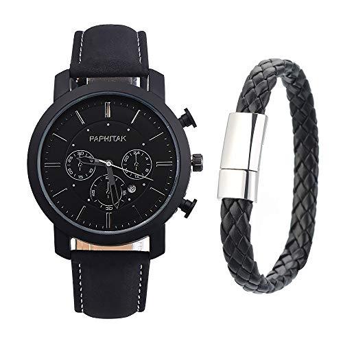 Souarts Herren Armbanduhr Jungen Retro Analoge Quarz Uhr mit Armband Männer Geschenk Set Herrenuhren mit Kleine Deko Zifferblatt