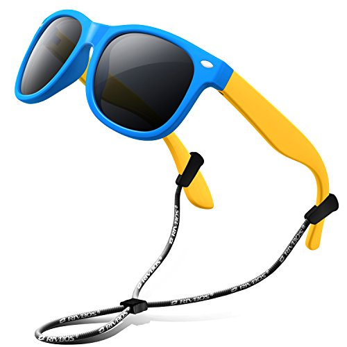 RIVBOS Rubber Kids Polarized Sunglasses With Strap Glasses Shades for Boys Girls Baby and Children Age 3-10 RBK004 (W Blue)
