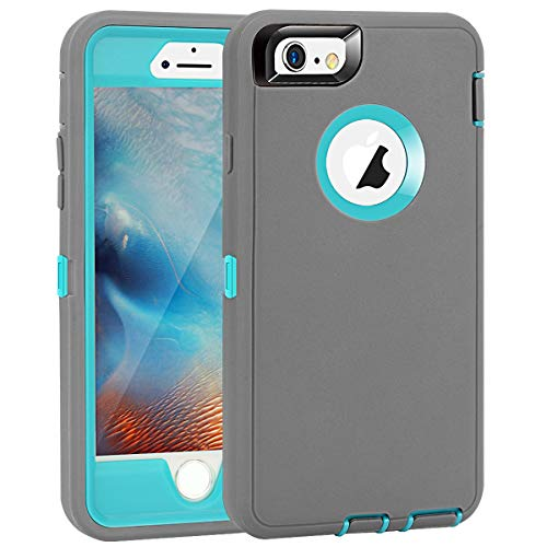 MAXCURY for iPhone 6 Case iPhone 6s Case Heavy Duty Shockproof 3 in 1 Soft Silicone Rubber + Hard PC Bumper Cove with Built-in Plastic Screen Protector - Grey and Light Blue