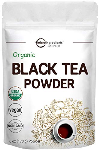 Organic Instant Black Tea Powder from 100% Tea Leaves, 6 Ounce (170 Grams), Natural Tea Flavor for Cookies, Baking, Beverage, Smoothie, Non-GMO and Vegan Friendly