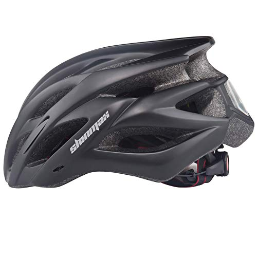 Shinmax Bicycle Helmet, LED Held Light, Cycling Helmet, Simple Helmet, Ultra Lightweight, High Rigidity, 22 Ventilation Holes, Removable Parasol, Size Adjustable, CPSC Certified, for Head Protection, For Skateboards, Kickboards, Inline Skating, BMX, MTB, and Other Kids/Adults 22.4 - 24.4 inches (57 - 62 cm), S/M/L/XL (Black)
