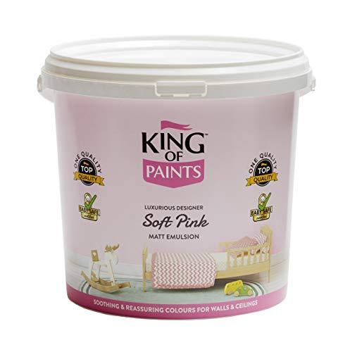 King of Paints Wand- und Deckenfarbe, zartrosa, zertifiziert, babysicher, 5 l