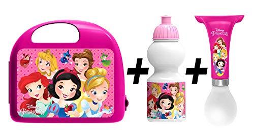 Stamp - Combo Boite A Gouter + Gourde + Klaxon - Princesses Disney Rose 29 cm
